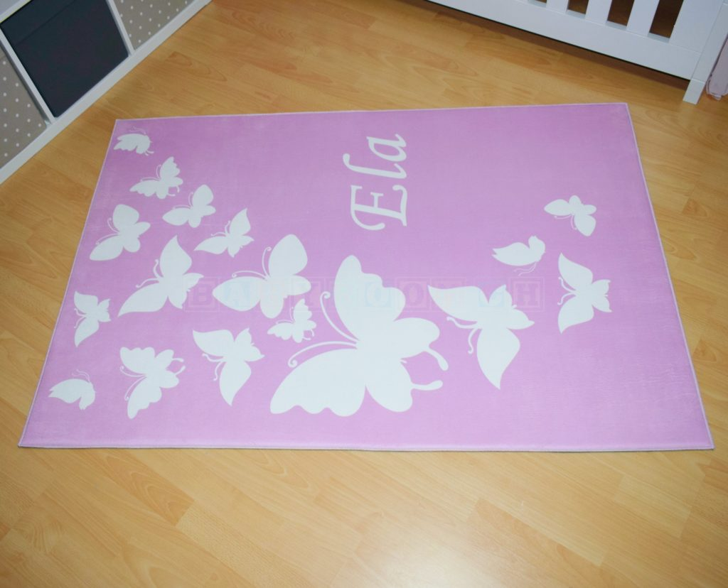 Teppich Schmetterling Rosa ~ Personalisierbarer baby und kinderzimmer teppich